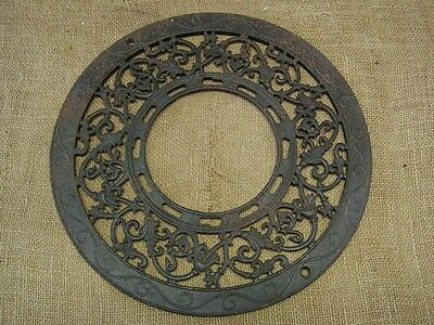 Vintage 1891 Cast Iron Register Grate > Antique Old Shabby Round Garden 6676