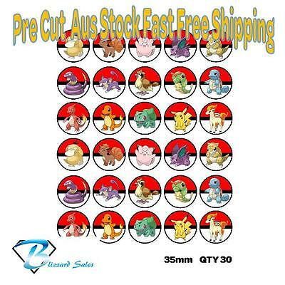 30X Pokemon Go Edible Cupcake Toppers 35mm Wafer Birthday Cake Decorating Kids V