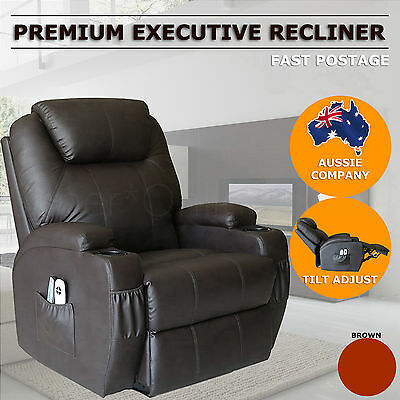 Premium Sofa Recliner Chair Lounge Padded PU Leather with 2 Cup Holder Brown
