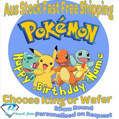 20cm Round Pokemon Go Edible Image Icing or Wafer Cake Topper Kids Birthday v1