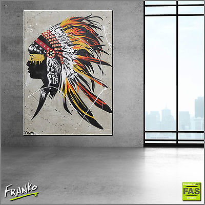 URBAN POP ART CONCRETE TEXTURED PAINTING NATIVE AMERICAN 140cm x 100cm Franko
