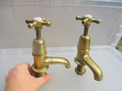 "Edwardian Brass Bath Taps Architectural Antique Porcelain Caps ""Sanitor"" Vintage"