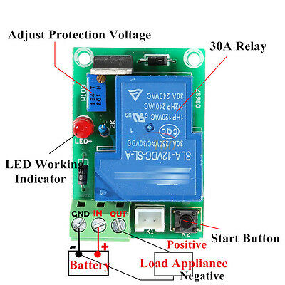 12V 30A Storage Battery Anti-Over Discharge Protection Module Board Controller