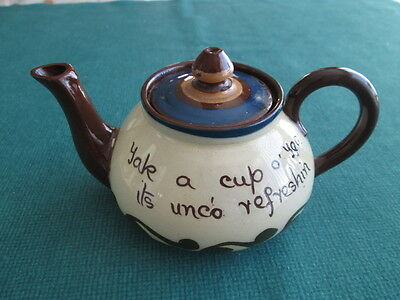 Torquay Pottery Small Teapot With Devon Motto