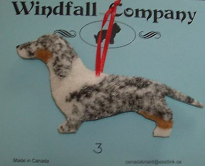 Dapple Smooth Coat Dachshund Dog Plush Christmas Canine Ornament #3 by WC