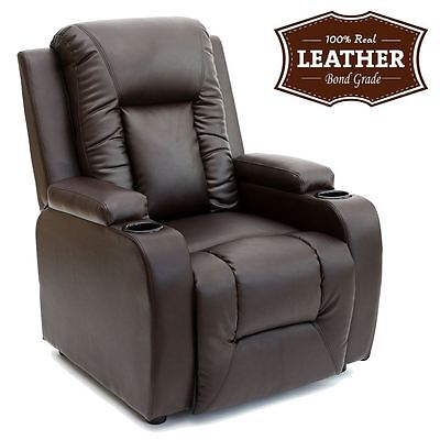 OSCAR BROWN LEATHER RECLINER w DRINK HOLDERS ARMCHAIR SOFA CHAIR CINEMA GAMING