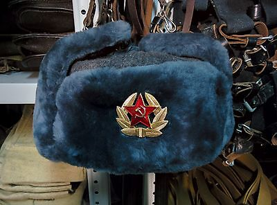 New Real Sheepskin Fur Authentic Soviet and Russian Gray army hat ushanka