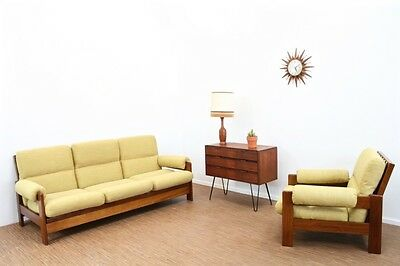 Stunning Vintage Teak Danish Influence Two Piece Sofa/daybed & Lounge Chair