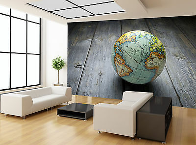 Wood Globe Earth Shade Wall Mural Photo Wallpaper GIANT WALL DECOD