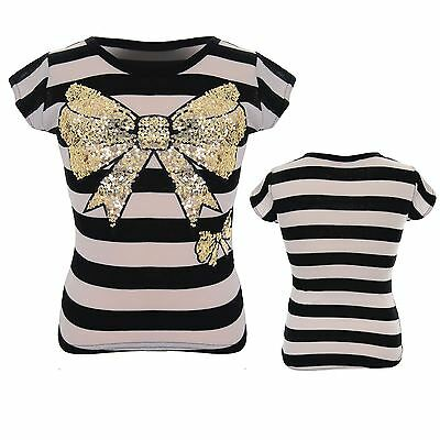 Girls Stripe Glitter Bow High Low Thin Stretch Party Children's Top T-Shirt