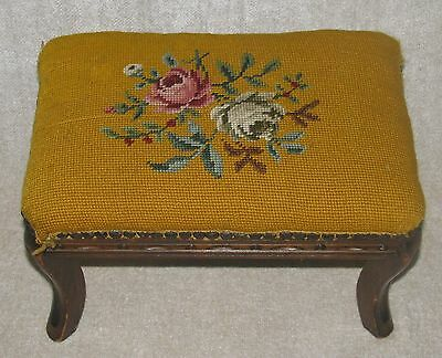 "Antique Wood & Needlepoint Footstool  Gold w/ Roses  9"" Tall"
