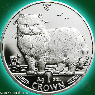 1989 Isle of Man - PERSIAN CAT - 1 Oz .999 Silver Proof Coin 2ND YEAR OF SERIES