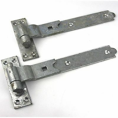 """Gate Hinges Cranked 200mm 8"""" Pair Galvanised Heavy Duty Hook And Band Stable"""