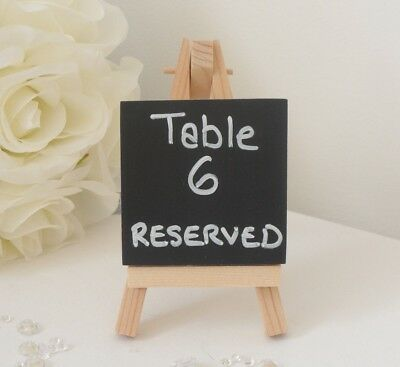 Mini Small Wooden Chalk Blackboard Easel Name Number Place Card Table - Wedding