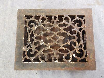 Antique Cast Iron Heat Grate Vent Register Old Victorian 6 3/8x8 5/8 1700-16