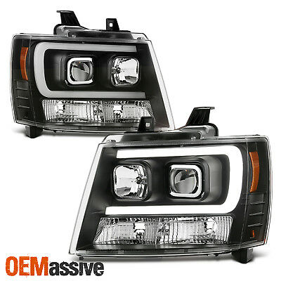 Fits 07-14 Chevy Suburban   Tahoe   Avalanche Black LED DRL Projector HeadLights