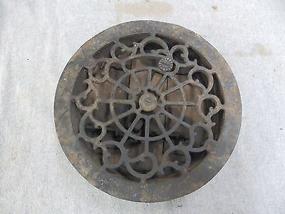 "Antique Cast Iron Round Floor Heat Grate Register Old Victorian Vtg 9"" 1705-16"
