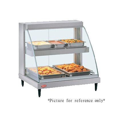 Hatco GRCD-2PD Countertop Heated Display w/ Curved Glass and 2 Pan Dual Shelves
