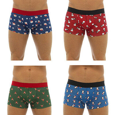 Mens Christmas Boxer shorts Festive Xmas Trunks Underwear Secret Santa S M L XL