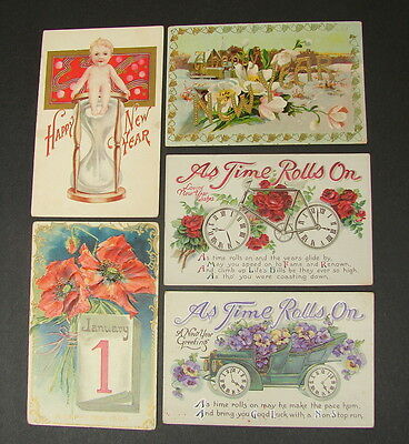 Vintage Embossed Postcard Lot of 5 Happy New Year Greeting As Time Rolls On