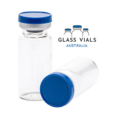 5 x 10ML CLEAR GLASS VIALS STERILE AND SEALED FLIP TOP LID | STUBBY