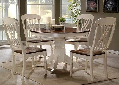 5 pc Dylan Buttermilk/ Oak Finish Round Dining Table Set