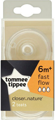 Tommee Tippee Closer to Nature Fast Flow Teats 6mth+ (2) FREE UK DELIVERY