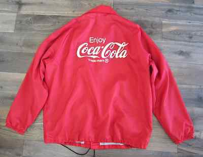 Vintage Red Coco Cola Coaches Snap Front Jacket