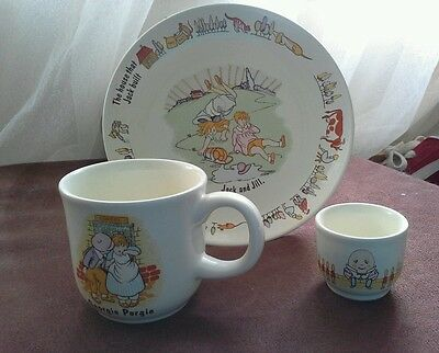 3 VINTAGE POOLE Pottery England NURSERY RHYMES Children's  Plate Mug Egg Cup