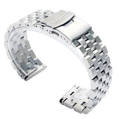 Mens Silver/Black 20/22/24mm Solid Stainless Steel Watch Strap Replacement Band