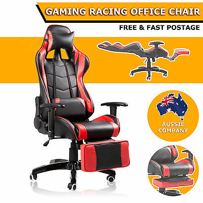 180 Degree Reclining Ergonomic High Back Gaming Racing Office Chair Seat Red