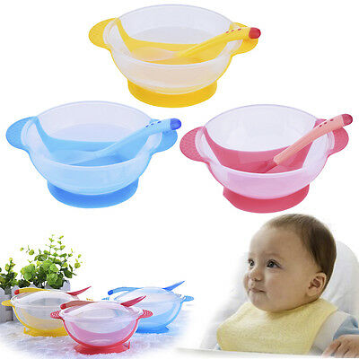 Baby Kid Suction Bowl Temperature Colour Changing Spoon Feeding Tableware Set