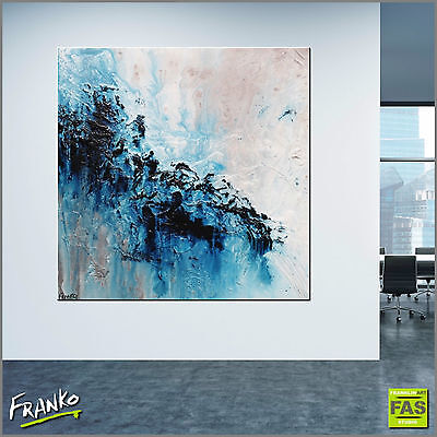 MODERN ABSTRACT TEXTURE PAINTING CANVAS BLUE 120cm x 120cm Franko Australia