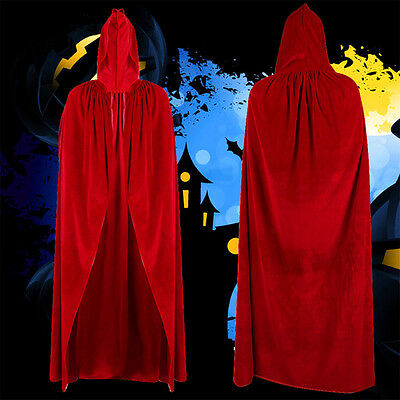 Halloween Witch Velvet Cloak Adult Hooded Cape Wedding Costume Robe Party Red