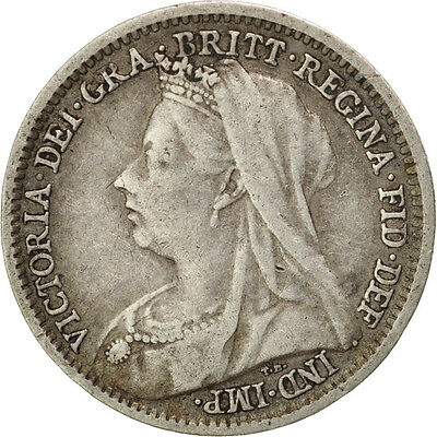GREAT BRITAIN, 3 Pence, 1900, KM #777, EF(40-45), Silver, 16, 1.38