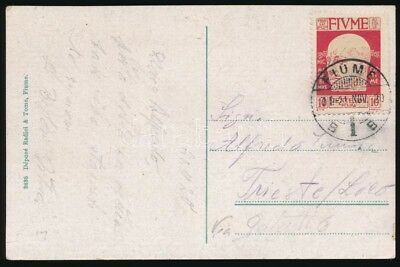 Fiume stamp Postcard to Trieste 1920 Cover WS213560