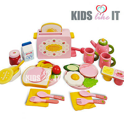 Kids GIRLS Pink Wooden Toaster BREAKFAST Tea CUP Pretend Play Cooking TOY SET
