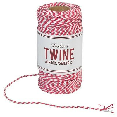 dotcomgiftshop BAKERS TWINE CERISE AND WHITE