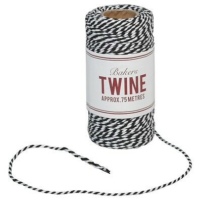 dotcomgiftshop BAKERS TWINE BLACK AND WHITE