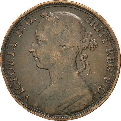 [#28960] GREAT BRITAIN, Penny, 1889, KM #755, VF(30-35), Bronze, 9.36