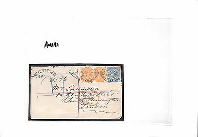 AM181 1887 SOUTH AUSTRALIA to GB London Registered Cover