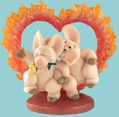 Piggin / Pig Collectors Figurine - Hearts On Fire # 14267 Sweet Lovers