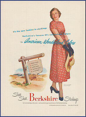 Vintage 1948 BERKSHIRE Sheer Stockings 51's Nylons Women's Fashion Print Ad 40's