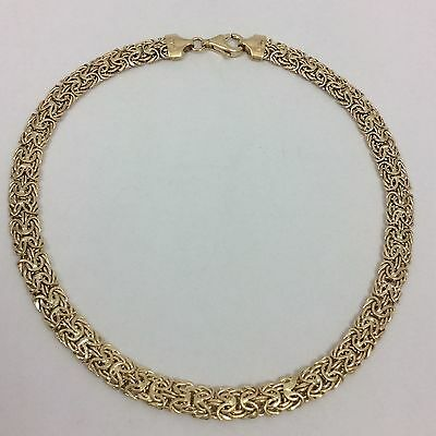 14K Yellow Gold Byzantine Anklet 10.5""