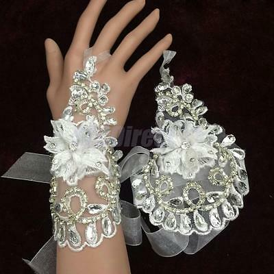 Bridal Wedding Party Hollow Fingerless White Lace Flower Bridal Short Gloves