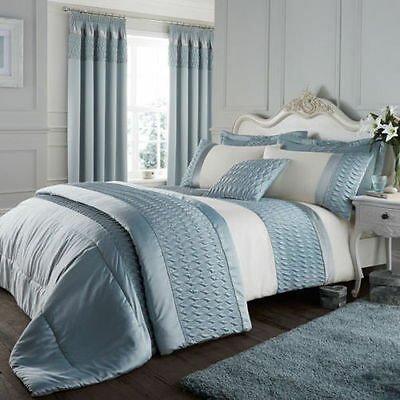 Catherine Lansfield Quilted Luxury Satin Duvet / Quilt Cover Set, Duck Egg