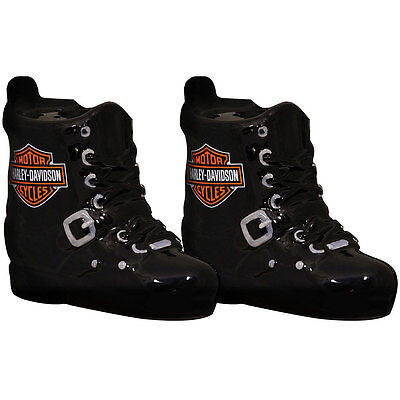 NEW Harley Davidson Boot Shaker Set - Handpainted Ceramic Salt And Pepper Outfit