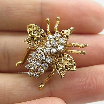 925 Sterling Silver Gold Plated C Z Fly Insect Pin Brooch