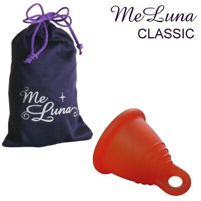 Me Luna Classic Shorty Menstrual Cup - Red - 4 Sizes - Ring Style