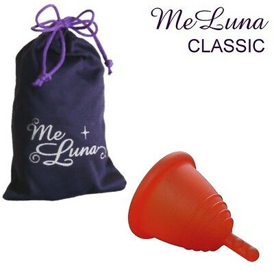 Me Luna Classic Shorty Menstrual Cup - Red - 4 Sizes - Stem Style
